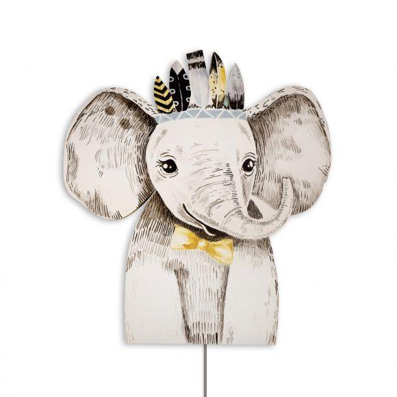 Ξύλινο Χειροποίητο Φωτιστικό Ελέφαντας