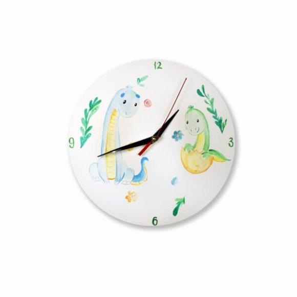 Ρολόι Ξύλινο Επιτοίχιο Χειροποίητο με Δεινόσαυρους