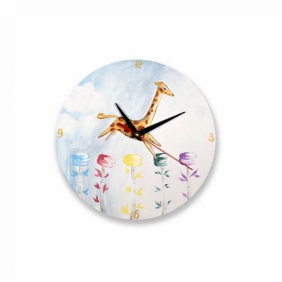 Ρολόι Ξύλινο Επιτοίχιο Χειροποίητο με Καμηλοπάρδαλη